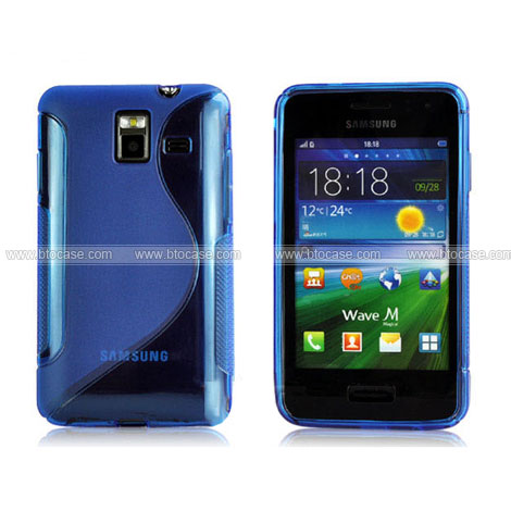 Samsung wave m s7250 s line silicone case gel skin blue for Housse samsung wave